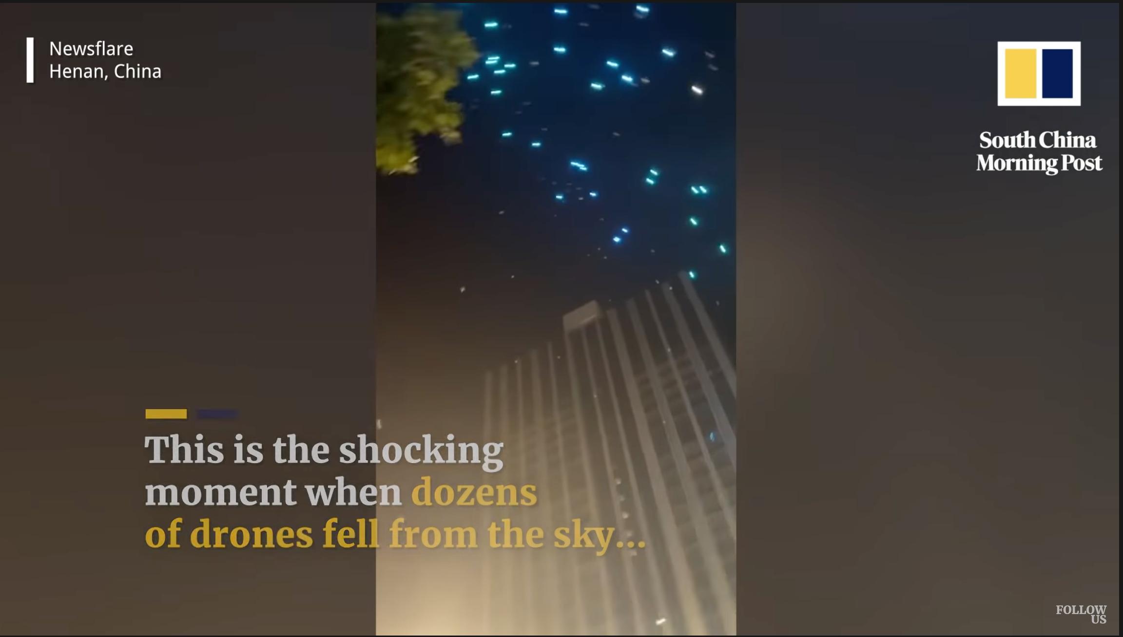 中国で数百台のドローンが空から落下するという事態に現場は騒然